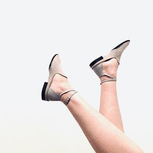 Alexander Wang   Astrid Ankle Strap Flats in Grey